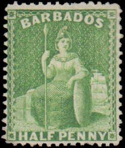 Barbados #50, Incomplete Set, 1876, Hinged
