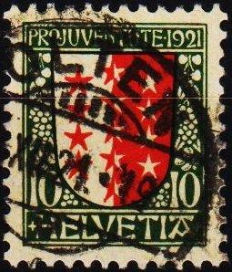 Switzerland. 1921 10c. S.G.J17  Fine Used