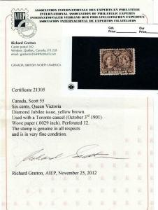 CANADA # 55 VF-6cts JUBILEE WITH TORONTO DATED CANCEL WITH CERTIFICATE CV $250