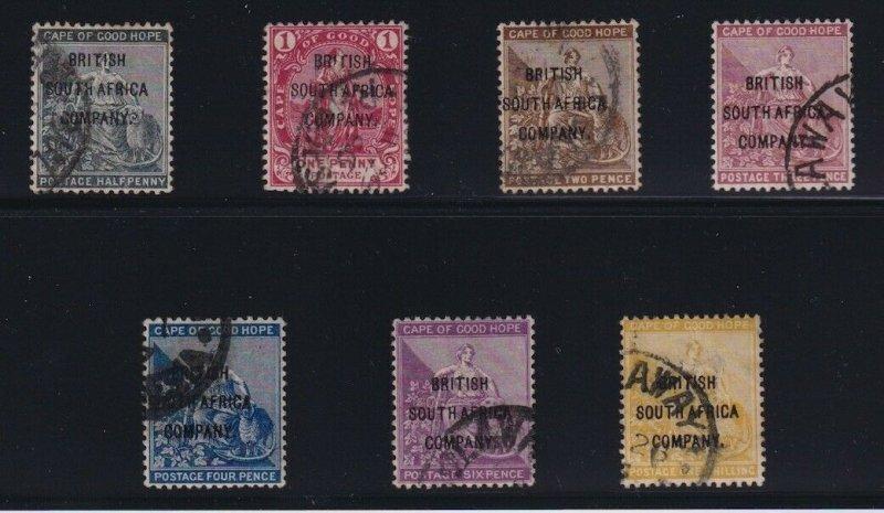 Rhodesia Sc #43-9 (1896) Cape of Good Hope Overprint Bulawayo CDS Used Set