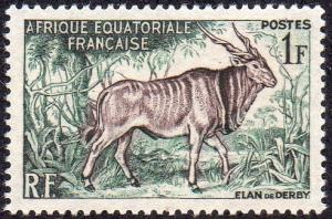 French Equatorial Africa 195 - Mint-H - 1fr Giant Eland (1957) (cv $0.80)