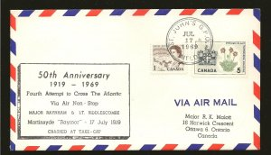 Canada 454 & 427 on 1969 50th Anniversary 4th Attempt to Cross Atlantic Cover