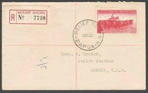 PAPUA NEW GUINEA 1962 Registered cover ex MOUNT HAGEN .Relief No.3 cds......M760