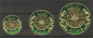 BHUTAN GOLD FOIL SET OF 3 never issued STAMPS FROM 1966