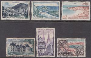 France 719-724 Hinged Used 1954 Tourism Views - SET