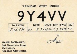7200 Amateur Radio QSL Card  GASPARILLO TRINIDAD WEST INDIES