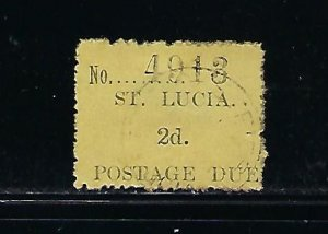 ST. LUCIA SCOTT #J2 1931 POSTAGE DUES 2D (TYPE I) - USED