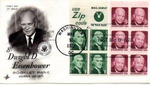US FDC #1278b Jefferson, 1395b Eisenhower Panes, ArtCraft (960)