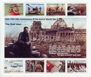 Antigua & Barbuda 1995 MNH WWII WW2 VE Day 8v M/S Military Tanks Aviation Stamps