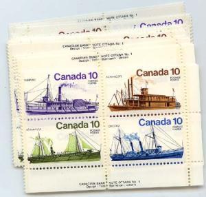 Canada - 1976 Inldand Vessels X 25 Plate Blocks mint #703a