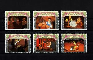 ST VINCENT - 1992 - DISNEY - BEAUTY & BEAST - BELLE - LUMIERE - 6 X MINT SET!