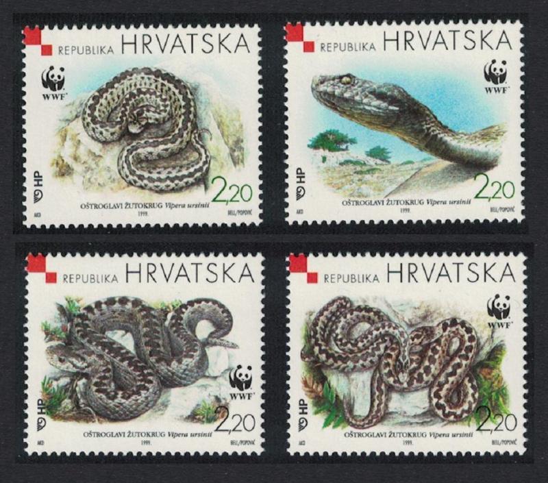 Croatia MNH 391a-d Orsini's Viper Snake 1999