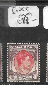 MALAYA STRAITS SETTLEMENTS  (P0105BB) KGVI 40C  SG 288  MOG