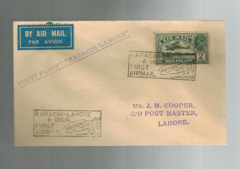 1934 Karachi to Lahore India  First FLight Cover  ATA Airmail FFC