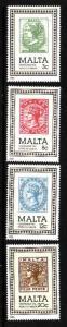 Malta-Sc#653-6-unused NH set-Stamp on Stamp-