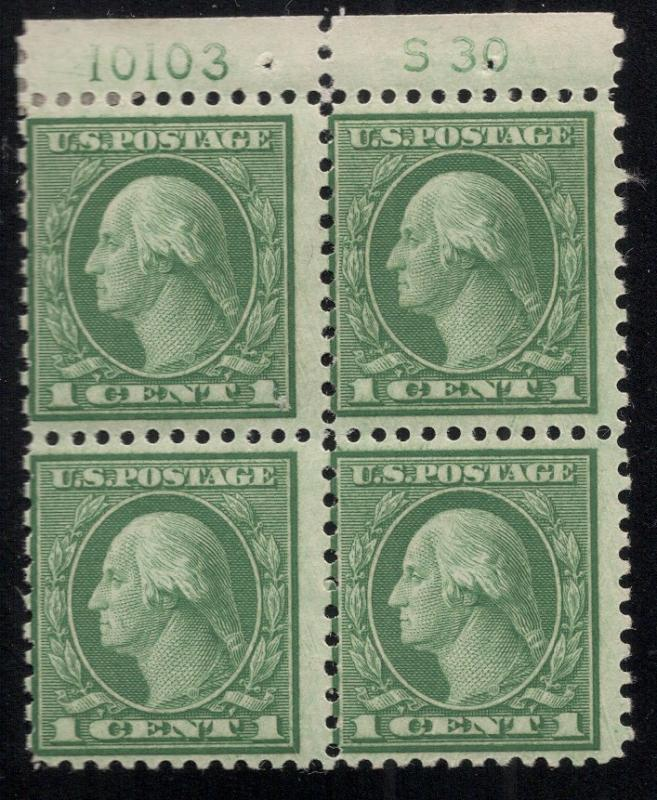 US#538 Green - Plt.# Blk. of 4 w/ S 30 - O.G. - L.H.