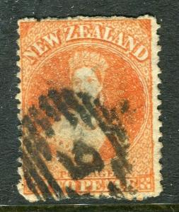 NEW ZEALAND; 1860s early classic QC Chalon issue fine used 2d. value