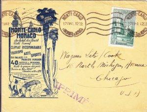 1941, Monte-Carlo, Monaco, Advertising Cover to Chicago, IL, See Remark (23325)