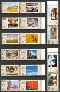 NICARAGUA 1976 US BICENTENNIAL Set 16 in Pairs Sc 1028-1037,C907-C912 MNH
