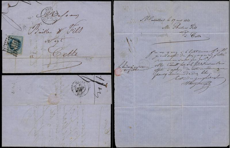France 1868 Postal History Rare Old Cover + Content Montpelier to Cette  D.957