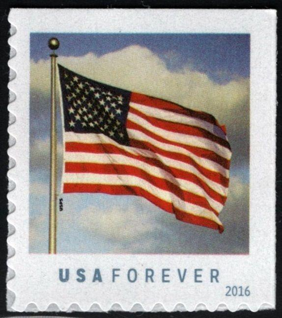 2016 47c Patriotic U.S. Flag, Booklet Single Scott 5054 Mint F/VF NH