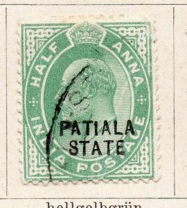 India Patiala 1903 Early EdVII Issue Used 1/2a.