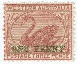 (I.B) Australia Postal : Western Australia 1d on 3d Pale Brown (SG 107)