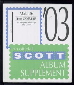 2003 Scott #6 Malta Stamp Album Supplement Item #203ML03