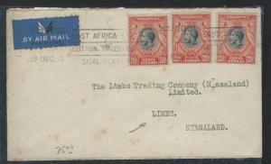KENYA  UGANDA TANGANYIKA (P2609B) 1936 KGV 20CX3 TO NYASALAND NICE B/S