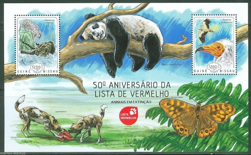 GUINEA BISSAU  2014 50th ANNIVERSARY OF RED LIST OF ENDANGERED SPECIES S/S NH