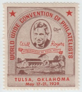 USA Cinderella Will Rogers stamp 7-29-21 - Oklahoma mnh gum  1939