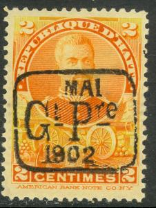 HAITI 1902 1c Deep Orange President Sam Overprint Issue Sc 69 MH