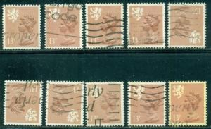 GREAT BRITAIN SCOTLAND SG-S53, SCOTT # SMH-21, USED, 10 STAMPS, GREAT PRICE!