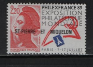 ST. Pierre & Miquelon 510 Hinged, 1988 Overprinted issue