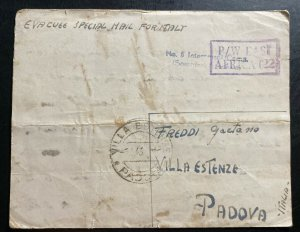 1943 Southern Rhodesia Interment POW Camp 5 Letter Cover To Padova Italy