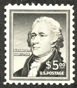 US #1053 SCV $80.00 VF/XF mint never hinged, $5.00 Hamilton, post office fres...