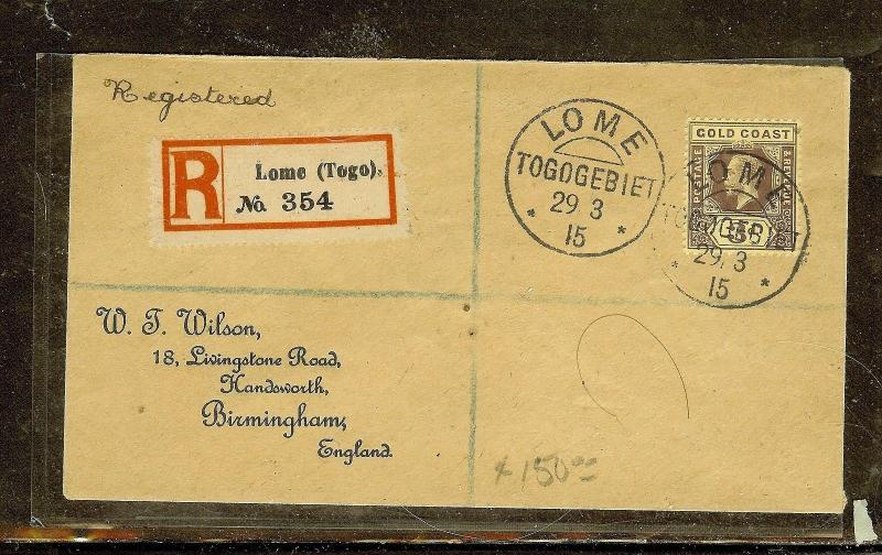 GOLD COAST (P0210B) 1915 UNOVERPRINTED KGV 3D REG FROM LOME, TOGO TO ENGLAND
