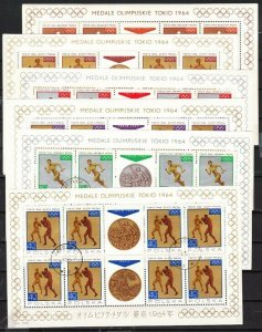 Poland, Scott cat. 1355-1362. Tokyo Olympics issue as 8 Sheets of 8.   C.T.O.