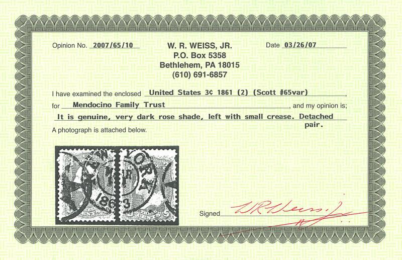 U.S. #65 Used Separated Pair Very Dark Rose with Weiss Cert