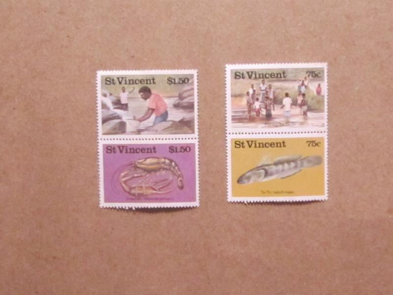 St. Vincent - 984-7, MNH Set. Fresh Water Fishing. SCV - $3.35