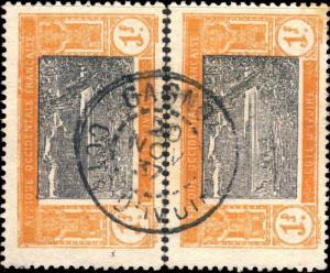 CÔTE-D'IVOIRE - 1937 - CAD GAGNOA / COTE-D'IVOIRE DOUBLE CERCLE SUR 2x N°55