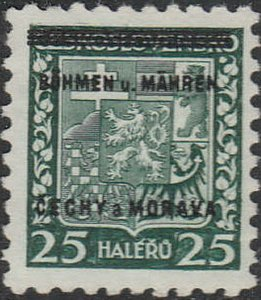 Stamp Germany Bohemia Czech Mi 004 Sc 004 1940 WW2 3rd Reich MNH