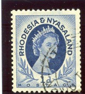 Rhodesia & Nyasaland 1955 QEII 1d deep blue (p12½x14) COIL STAMP VFU. SG 2a.