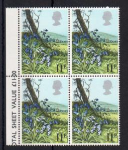11p FLOWERS UNMOUNTED MINT BLOCK OF 4 + SILVER COLOUR SHIFT