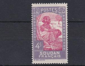 FRENCH COLONIES  FRENCH SUDAN   1931 - 39  4C  CARMINE & LILAC      MH