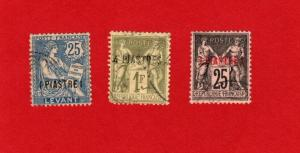 FRANCE OFFICES IN TURKEY 3 DIFFERENT USED STAMPS SCOTT # 2, 4 and 34