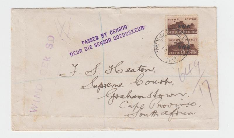 SOUTH WEST AFRICA -GRAHAMSTOWN 1943 REG. CENSOR COVER, H/S #3b, 2sh (SEE BELOW