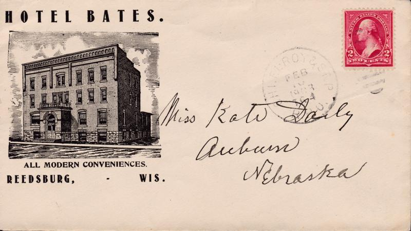 United States 1903 R.P.O. Chicago Elroy St. Paul  Hotel Advertising Wisconsin
