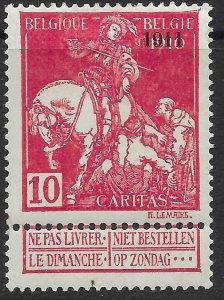 Belgium B16  MH. Fight TB. Overprint 1911