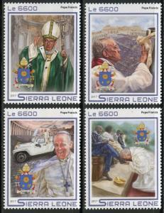 SIERRA LEONE 2017   POPE FRANCIS SET  MINT NH